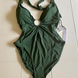 Robin Piccone Olive Green Halter Plunge One Piece